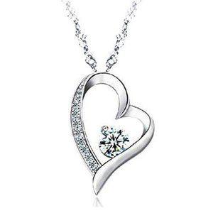2 Carats round diamond heart pendant solid gold je